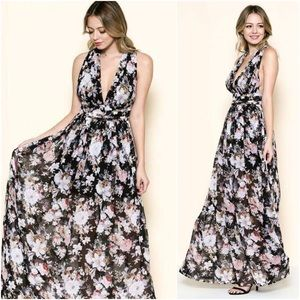 🆕PREORDER Liliana Black Floral Chiffon Maxi Dress